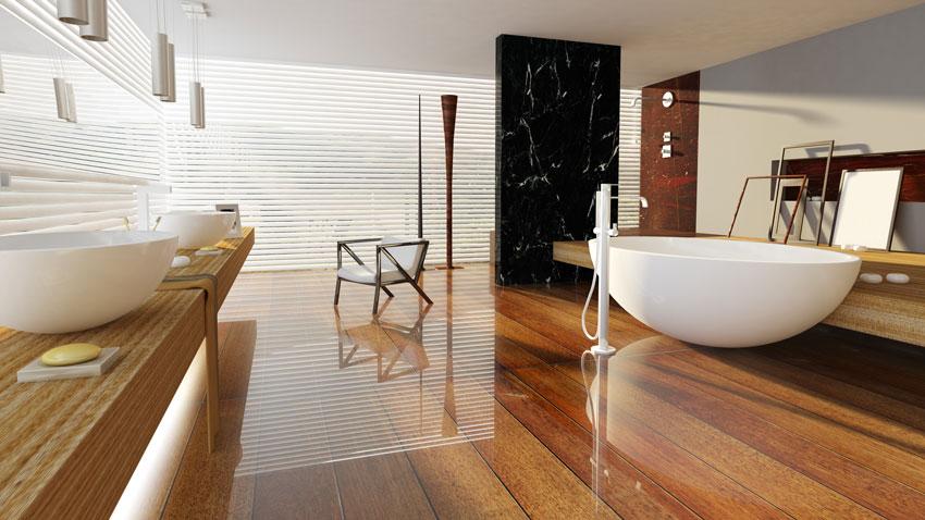 Bagno dal design moderno con top in legno e pavimento effetto legno, vasca design bianca.