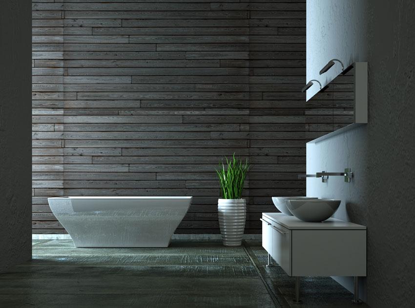 bagno con design semplice e moderno, sanitari bianchi e pareti grigie scure.