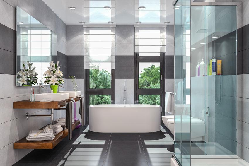 piastrelle bagni moderni con doccia