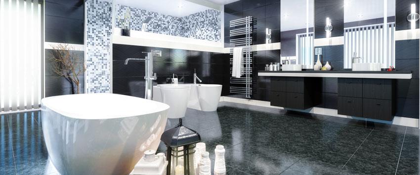 Bagno moderno con piastrelle e mobili di colore nero, piastrelle mosaico nella doccia.