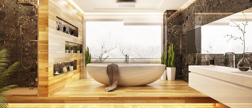 bagno moderno con piastrelle effetto legno e vasca da bagno design bianca.