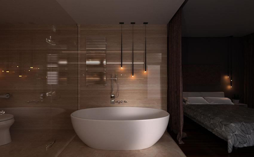 bagno in camera da letto con illuminazioni led, piastrelle effetto legno e vasca bianca.