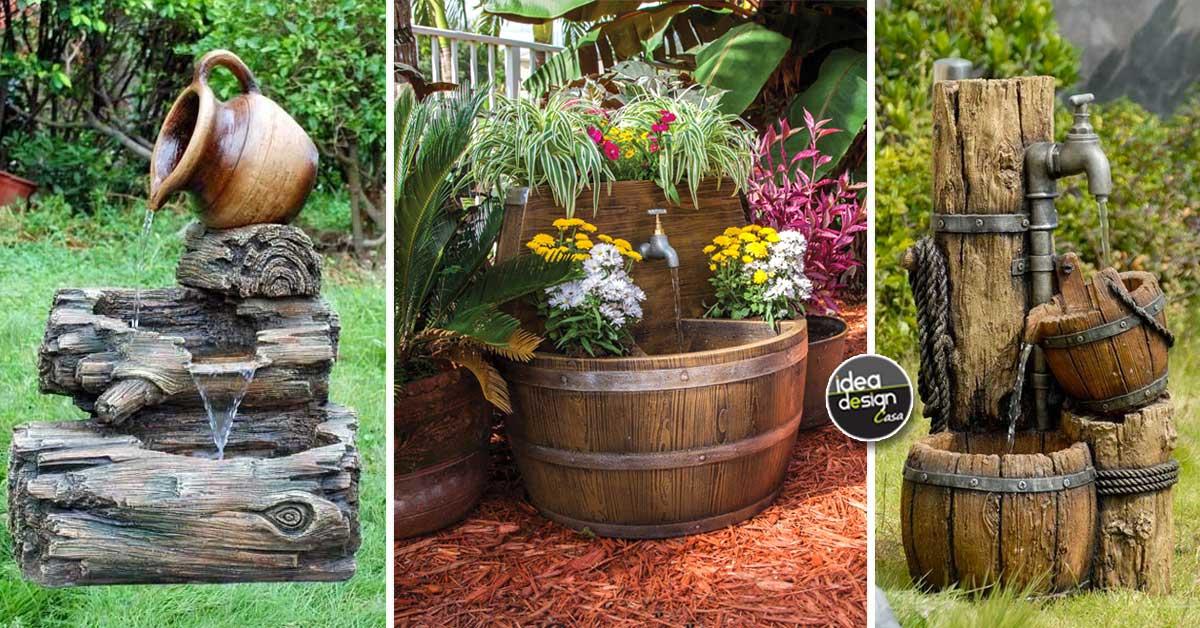 Fontane in legno idee per una fontanella fai da te in giardino
