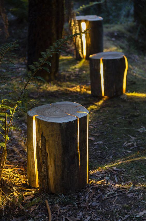 Tronchi di legno lampade giardino
