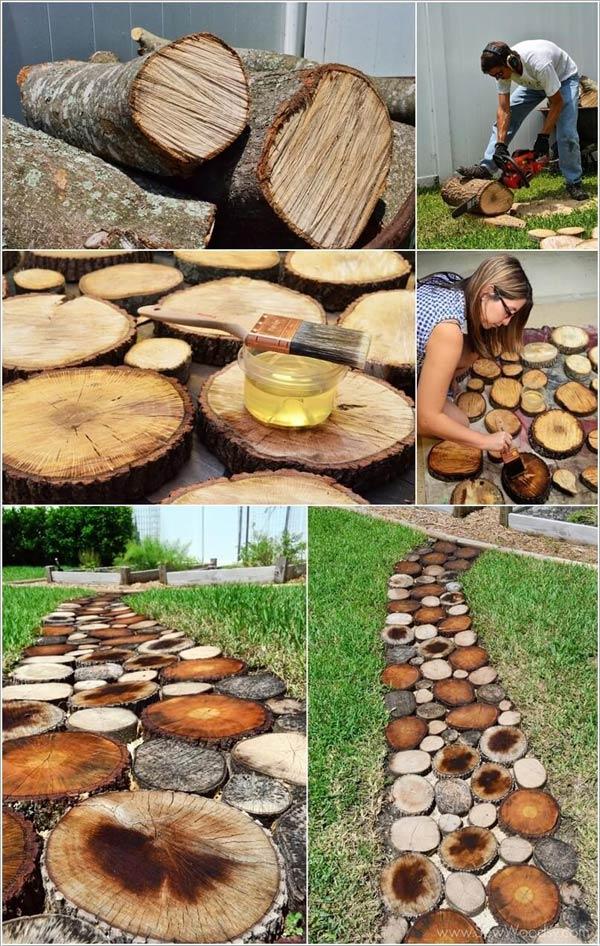 Tronchi di legno giardino