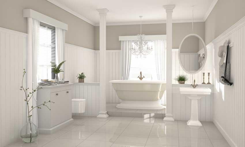 Mobiletti bagno shabby chic, vasca bianca, specchio sospeso.