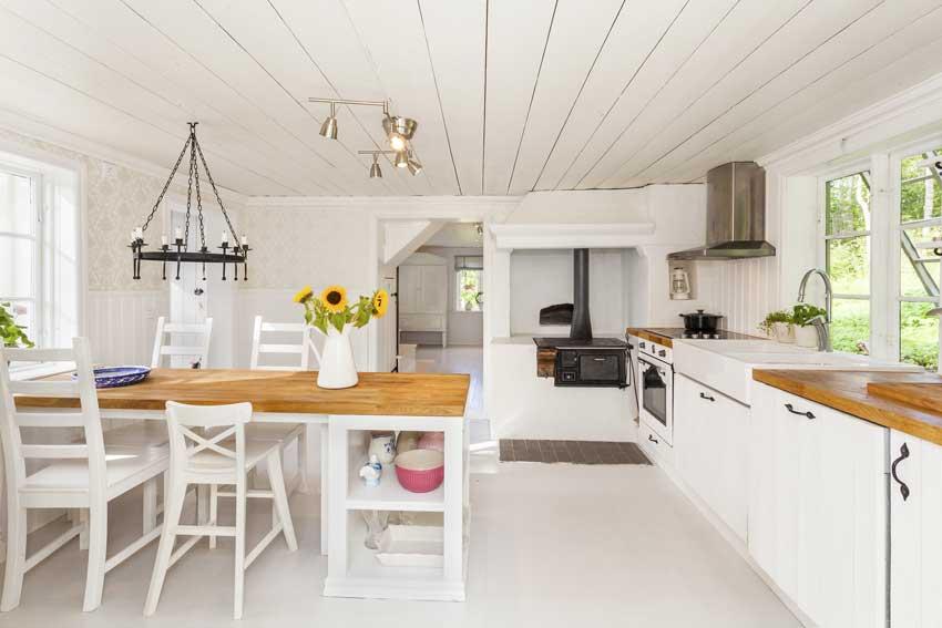 cucina moderna bianca e legno con un tocco shabby.