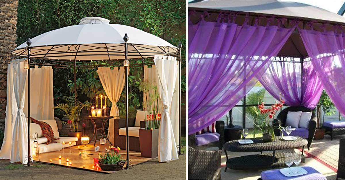 Foto Giardini Con Gazebo.Un Gazebo Con Le Tende Per Arricchire Il Giardino 15 Esempi