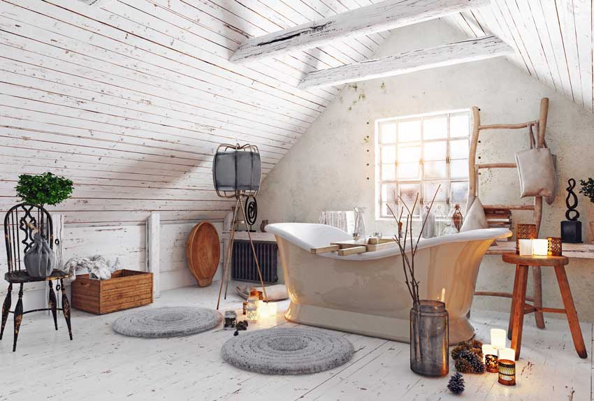 arredamento country chic, bagno in mansarda, bellissima la vasca shabby.