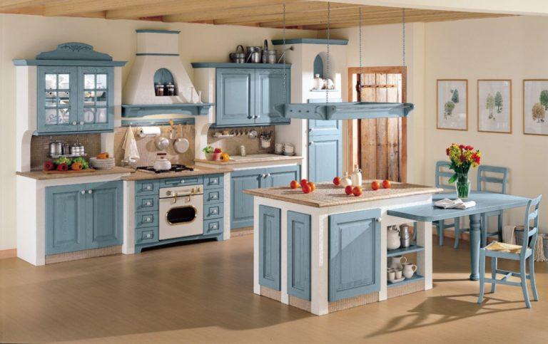 cucina in muratura stile country chic, colore bianco e blu.