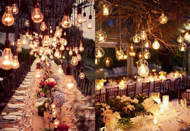 idee illuminazione matrimonio shabby chic di sera