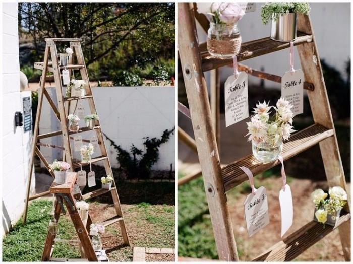 tableau di matrimonio realizzati con una vecchia scala, perfetto delle nozze shabby chic