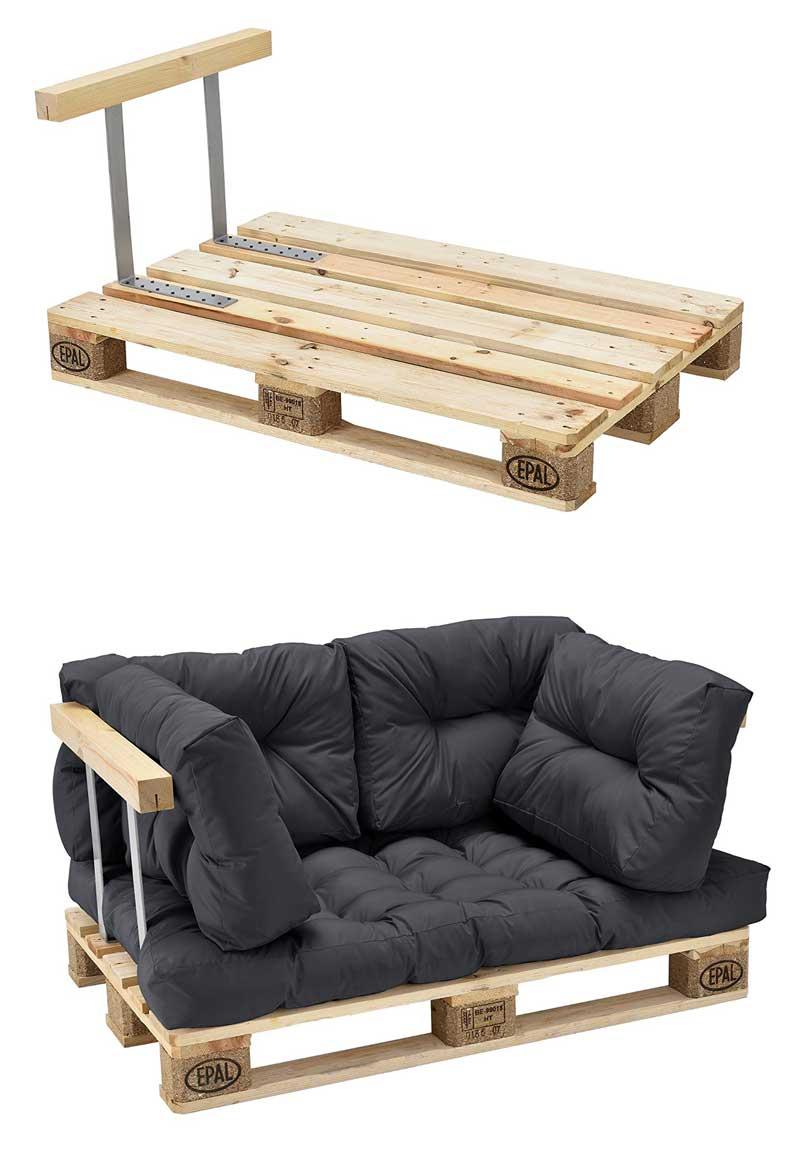 braccioli per divano in pallet