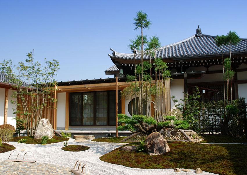 giardino zen con bamboo, stile giapponese.