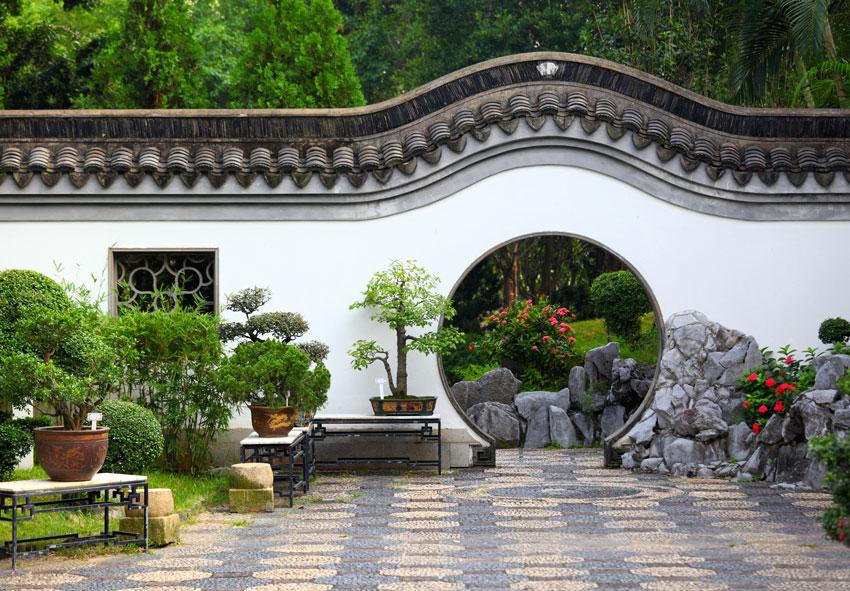 giardino zen cinese, esterno curato.
