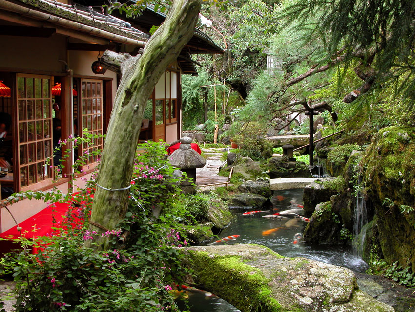 Giardino zen con laghetto.