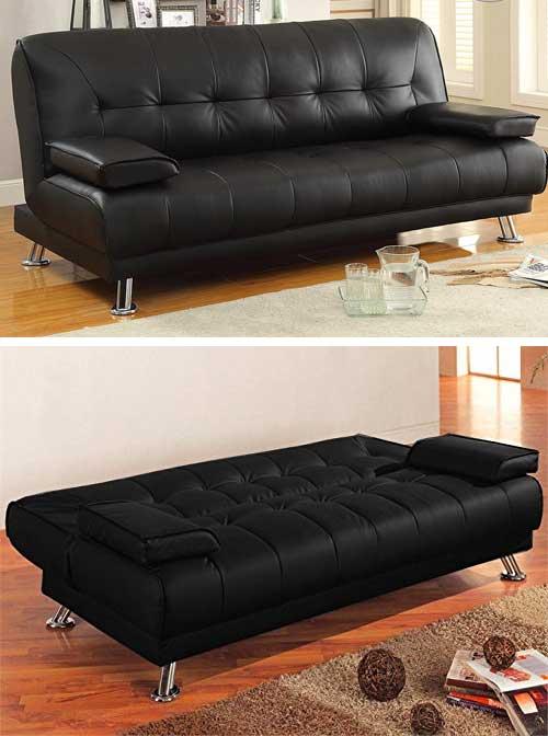 divano letto moderno in ecopelle reclinabile colore nero.