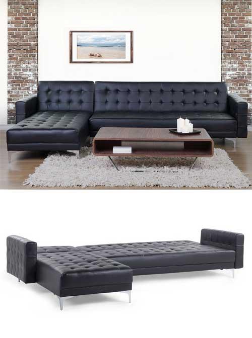 divano letto ad angolo in pelle nera con bottoni, ideale per soggiorno moderno.
