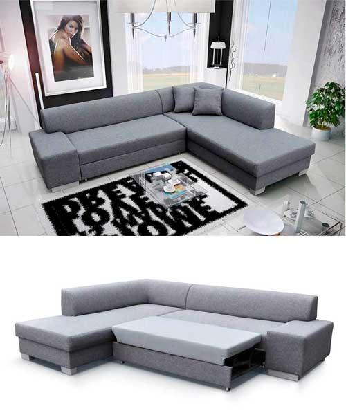 divano in tessuto color grigio, letto soggiorno.