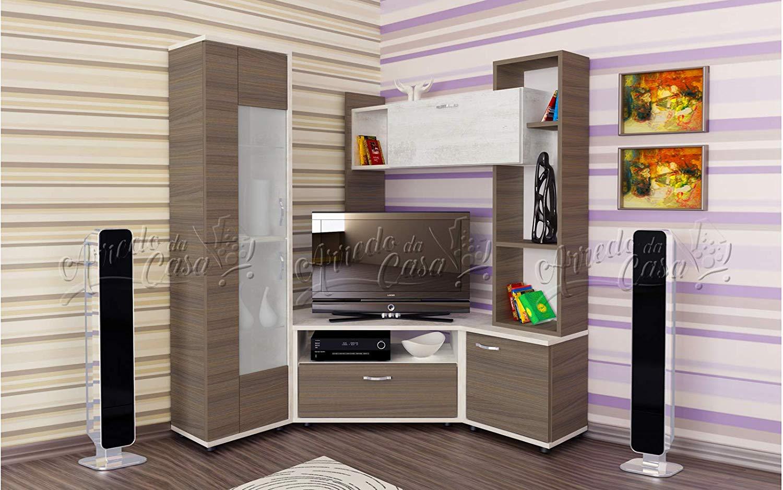 Parete attrezzata ad angolo. ideale per ottimizzare lo spazio in un piccolo salotto.