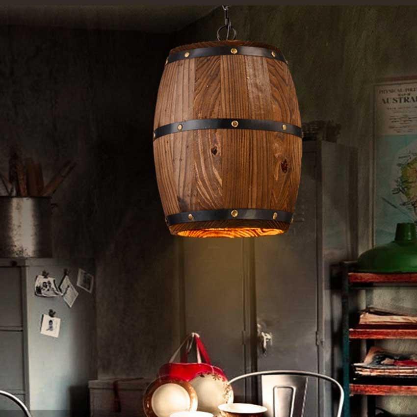 botte in legno lampadario