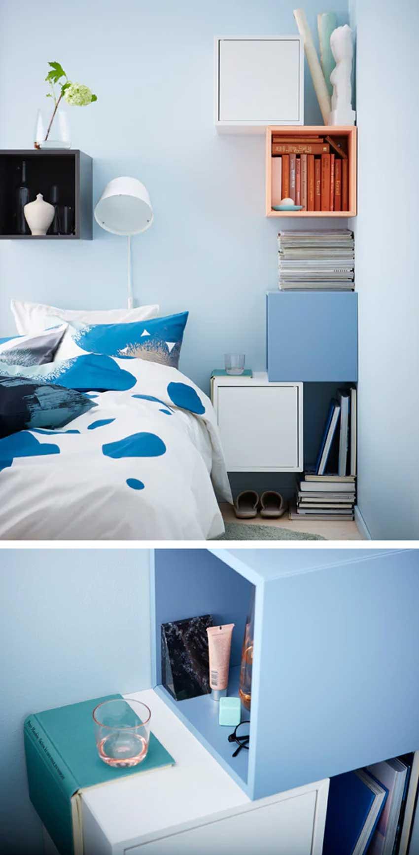 Ikea comodini con le mensole Eket in camera da letto