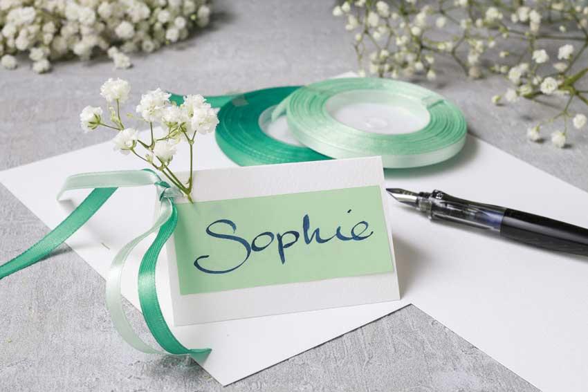 segnaposto matrimonio colore verde vintage con natro