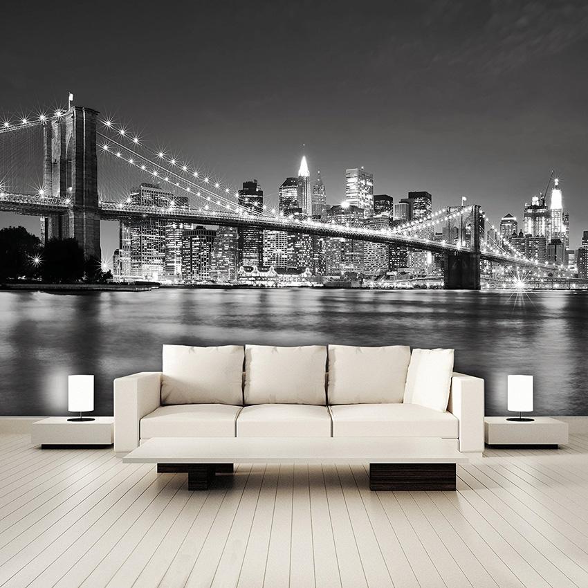 soggiorno con carta da parati design new york.