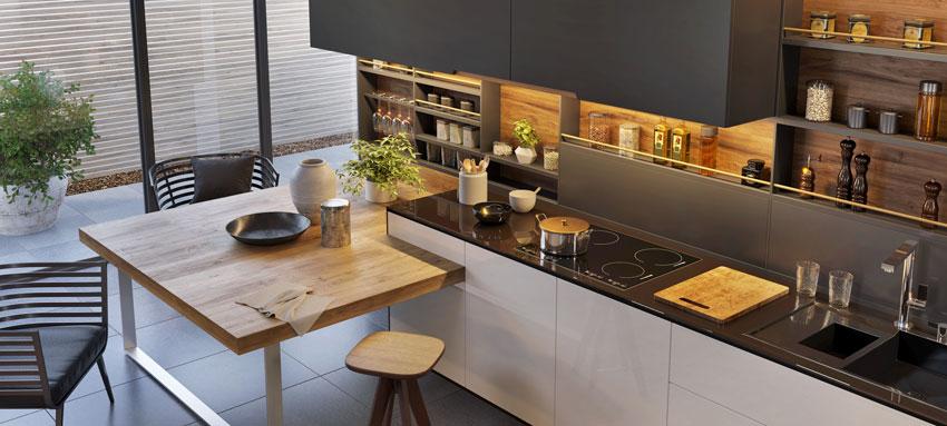 una cucina moderna bellissima, penisola in legno molto originale, illuminazione led sotto pensili.