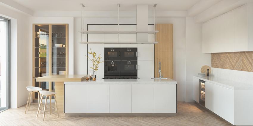 bella cucina moderna dal design pulito, bianca con inserti in legno.
