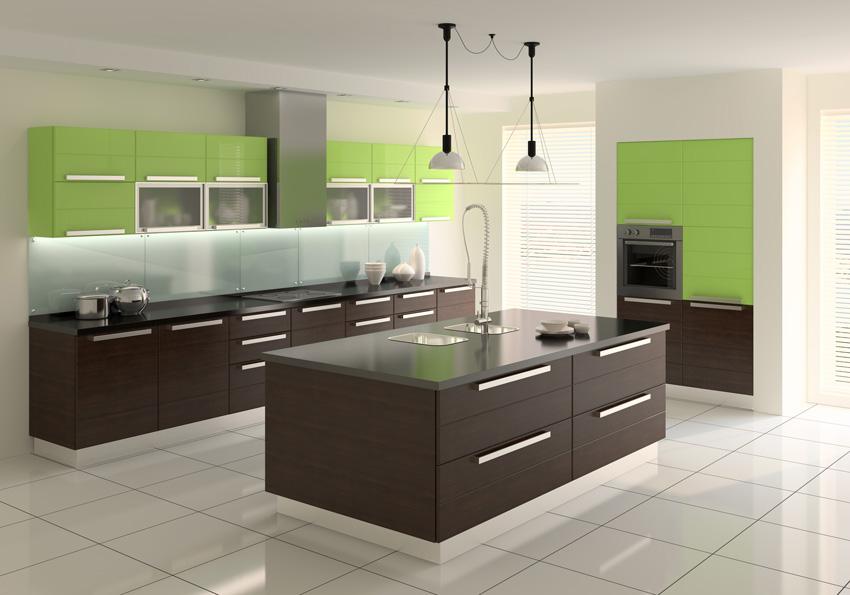 Cucina contemporanea color nera e verde con isola centrale.