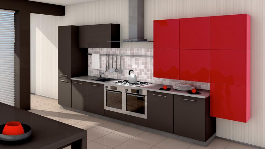 cucina dal design moderno rosso e nera, pensili a parete, paraschizzi mattonelle mosaico.