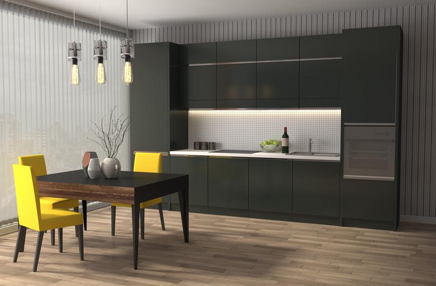 piccola cucina nera con tavolo nero e sedie gialle, stile moderno.