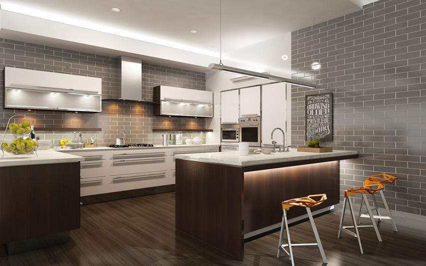 bella cucina moderna con illuminazione a led, pareti rivestite di mattonelle effetto mattoni grigi.