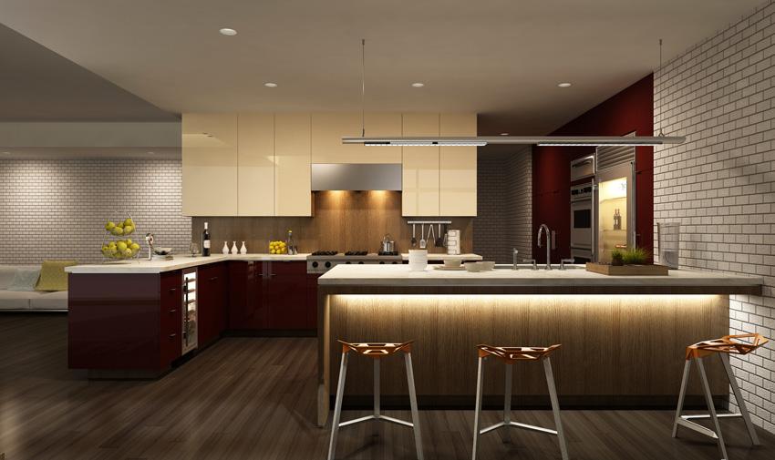 cucina con penisola design e illuminazione moderna.