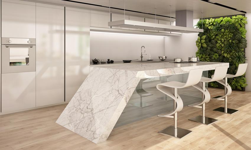 bellissima cucina con isola in marmo molto originale.