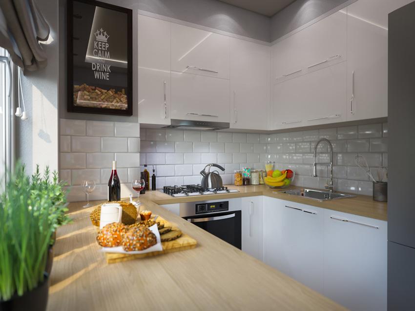 cucina piccola con pensili bianchi e top in legno, mattonelle bianche tipo mattoni, ottimizzazione dello spazio perfetto.