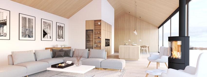 bellissimo soggiorno con pareti bianche e soffitto effetto legno, stufa centrale.