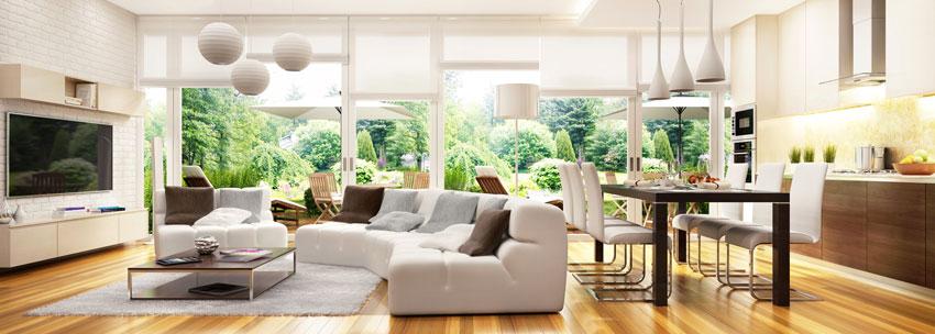 grande soggiorno stile contemporaneo con cucina a vista.