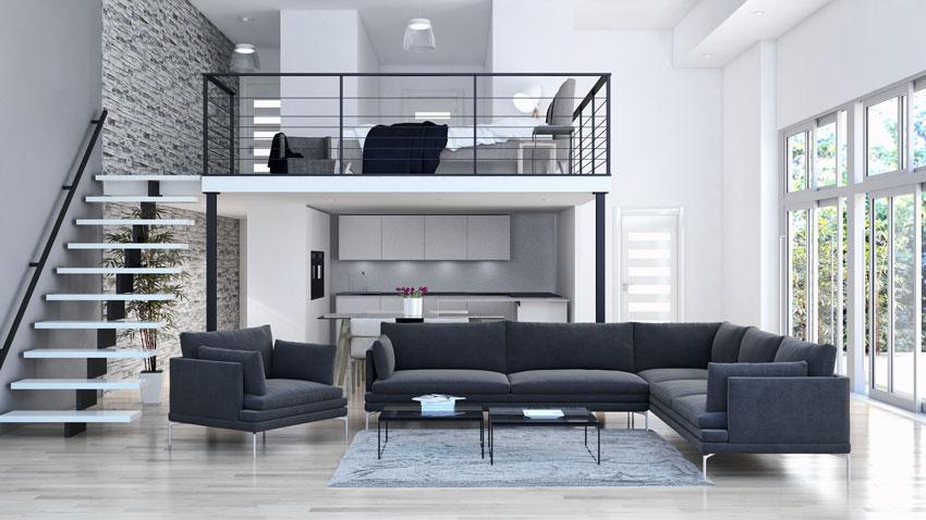 bellissimo soggiorno con camera da letto a soppalco, divano ad angolo nero moderno.