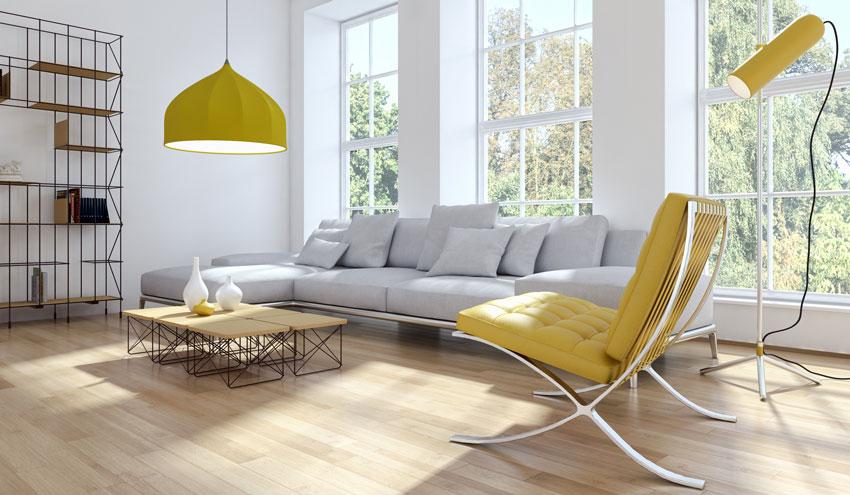 salotto moderno con arredi gialli.