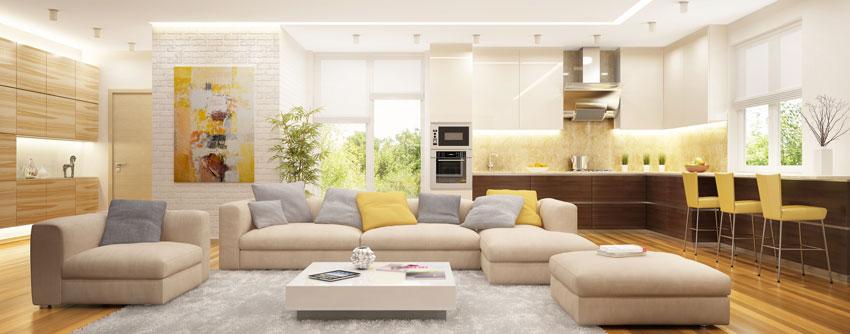 idee di zona living moderne con cucine a vista.