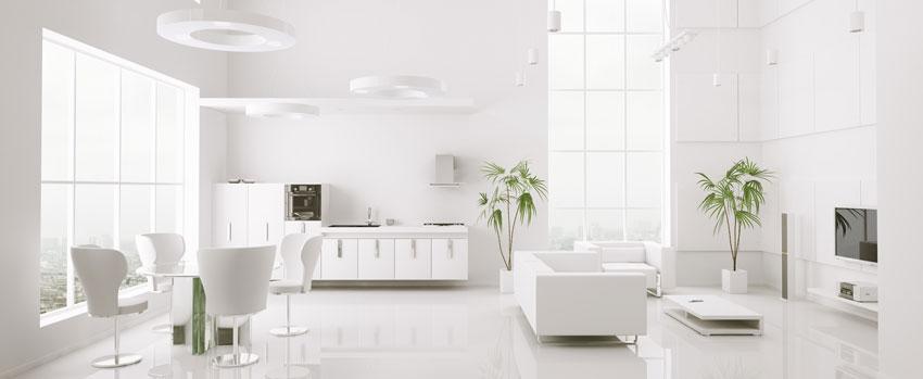 arredamento salotto total white con piante verde.