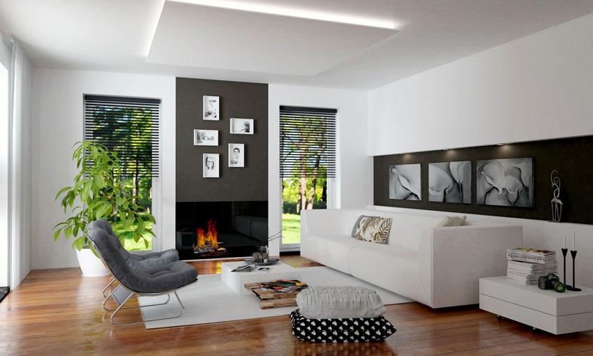 soggiorno con arredamento moderno, pavimento parquet e bel camino.