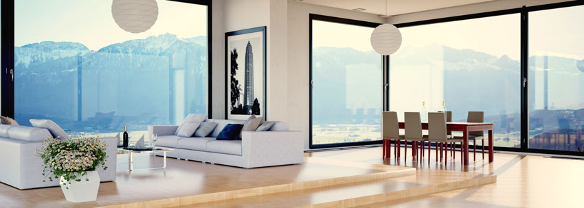 soggiorno contemporaneo con grande vetrate, arredamento minimalista.