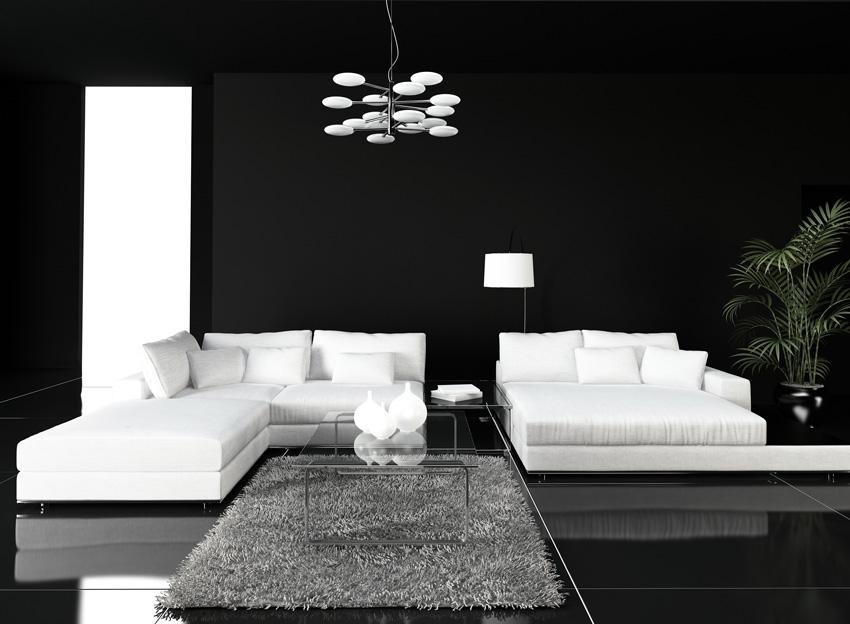 arredamento moderno bianco e nero in soggiorno.