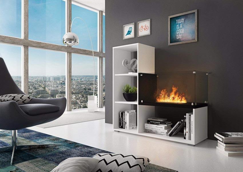 mobile moderno per il soggiorno con stufa bioetanolo incorporata.