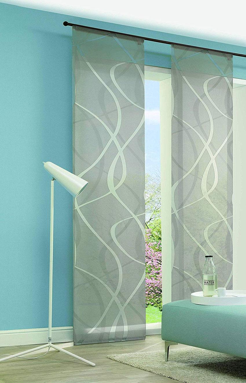 Tende moderne a pannello semi trasparente con motivi geometrici