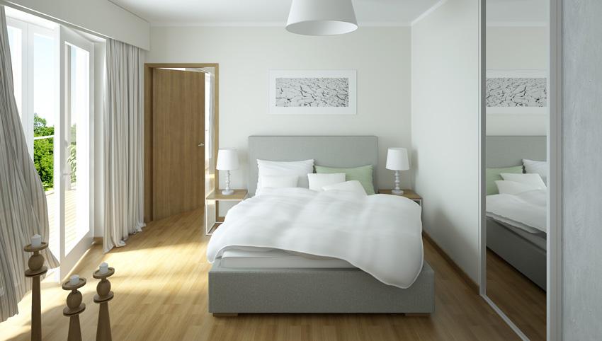 tende moderne a righe per camera da letto.