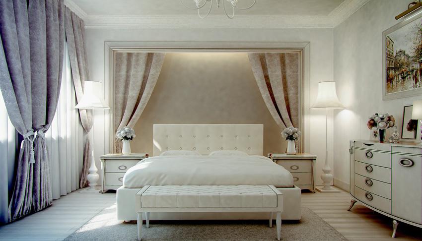tende tortora per letto matrimoniale, ideale per la parete della testata.